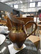(16) Copper and brass ewer