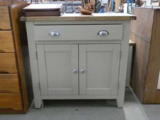 84 - Chester grey painted oak 2 door small sideboard