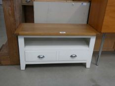 54 - Chester white painted oak small TV unit