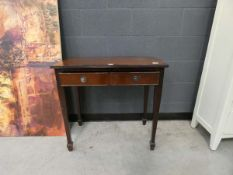 Reproduction mahogany side table with single drawer