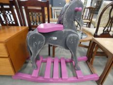 5172 - Grey and pink painted rocking horse