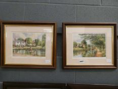 5100 - Pair of framed and glazed prints entitled 'The Duck Pond and the Angler's Retreat'