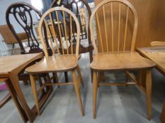 Pair of stickback elm seated dining chairs
