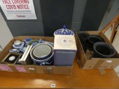 2 boxes containing a large quantity of blue and basalt glazed Wedgwood Jasperware