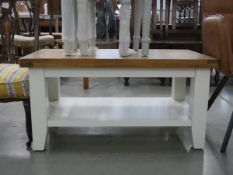 19 - Suffolk white painted oak small coffee table