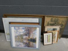 Quantity of impressionist prints, maps, a Canaletto print and prints of wildfowl