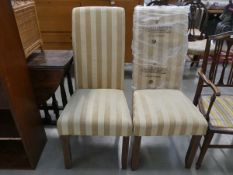 Pair of gold striped dining chairs