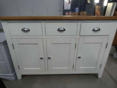 83 -Chester white painted oak 3 door large sideboard