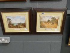 5101 - Pair of framed and glazed prints entitled 'Peaceful Valley and Harvesting'