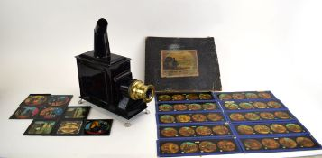 A Bing black tole magic lantern and thirty-nine slides including children's stories and personal