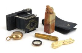 A group of collectable's including an Ensign Midget camera, a Chinese hardstone seal,