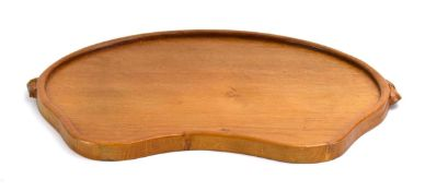 A Robert 'Mouseman' Thompson of Kilburn oak tray of kidney form, the sides carved with two mice, w.