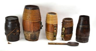A group of five various miniature bound barrels
