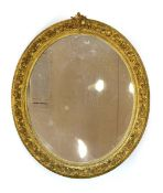A 19th century giltwood and plaster wall mirror,