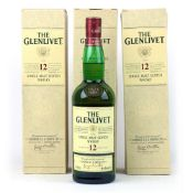 3 old style bottles of The Glenlivet 12 year old Single Malt Scotch Whisky with boxes 70cl 40% each