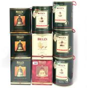 9 Bell's Christmas Bell Decanters with Cartons/Boxes for 1989(2 off) & 1990 43% 75cl plus 1991,1993,