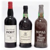 3 bottles of Port, 1x Quinta Do Noval 20 year old,