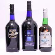 3 bottles, 1x Harvey's Bristol Cream Sherry 17.5% 1.