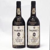 2 bottles of Warre's 1977 Vintage Port (ullage ????)
