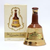 An old Bell's Celebration Scotch Whisky Bell with box circa 1960's 70 proof 13 1/3 fl oz