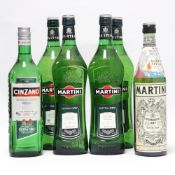 6 bottles, 4x Martini Extra Dry Vermouth 1 litre,