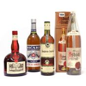4 bottles, 1x Asbach Uralt Brandy from the Rhine Duty Free with box 1 litre,