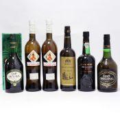 6 bottles, 1x Cockburn's Special Reserve Port, 2x Croft Original Pale Cream Sherry,