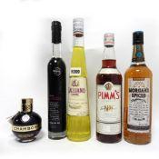 5 assorted bottles, 1x Pimm's No1 cup 70cl 25%, 1x Chambord Black Raspberry Liqueur 20cl 16.