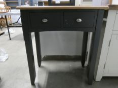 Blue painted dressing table / sidetable with 2 drawers (41)