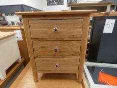 Oak 3 drawer bedside unit