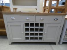 Grey painted oak sideboard with wine rack, 2 large drawers and single door cupboards under (23)
