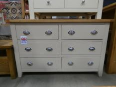 Large cream painted oak sideboard with 6 drawers (5)
