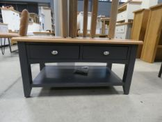 Blue painted oak coffee table with 2 drawers to side below and shelf (2)