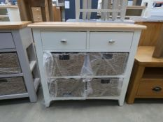 Medium white painted oak side table with 2 drawers, 2 shelves and 4 baskets under (32)