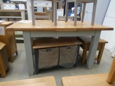 Grey painted oak extending dining table (10)