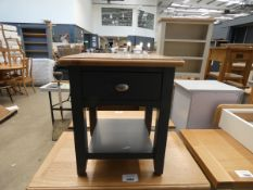 Blue painted oak lamp table with single drawer (36)