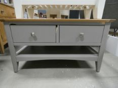 Grey painted oak coffee table with 4 drawers and shelf under (38)
