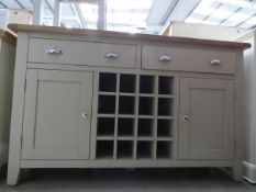 Large grey painted oak sideboard with wine rack, 2 drawers and 2 cupboards under (49)