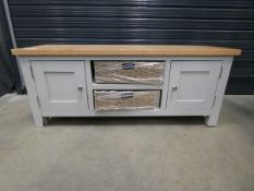 Grey painted oak medium sized TV audio cabinet with 2 cupboards (25)