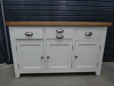 White painted and oak sideboard with 3 drawers and 3 cupboards under (22)