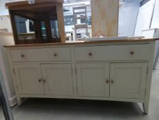 Cream painted oak sideboard with 2 large drawers and 2 pairs of cupboards under (48)