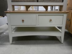 Cream painted oak coffee table with 4 drawers and shelf under (19)