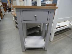 Grey painted oak tall lamp / telephone table (33)