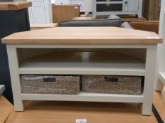Cream painted oak corner TV unit with 2 shelves under and 2 wicker baskets (3)