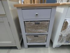 Blue painted small side table with single drawer under, 2 shelves and 2 wicker baskets (30)
