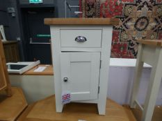 White painted oak cupboard with single drawer and single door (7)