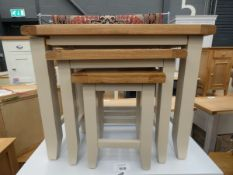 Grey painted oak nest of 3 tables (18)