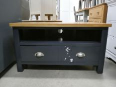 Blue painted oak corner TV audio unit with shelf under and large drawer (54)
