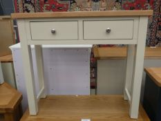 Cream painted oak side table with 2 drawers under (11)