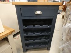 Blue painted oak wine rack with single drawer under (6)